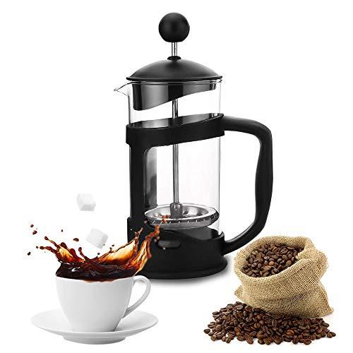 Caffettiera French Press in Vetro e Acciaio Inox - 350ml Caffettiera Francese in Vetro Borosilicato,Caffettiera Pressofiltro con Filtro Quadruplo in Acciaio Inox