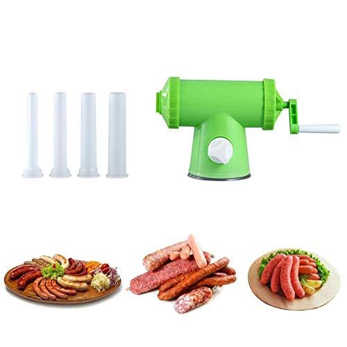 Manueller Wurst-Stuffer, Wurst-Maker-Fleisch-Stuffer-Füllstoff mit Wurst-Stuffer-Röhrchen, handbetriebener Salami-Maker, verpackt mit 4 Tubes für den hausgemachten, gewerblichen und privaten Gebrauch