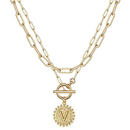 Gaoguan Collar con inicial en capas de oro para mujer, chapado en oro de 14 quilates, delicado con diseño de alfabeto