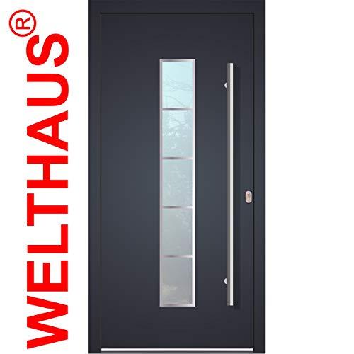 Haustür Welthaus WH75 Standard Aluminium mit Kunststoff LA250 Frankfurt Tür 1000x2000mm DIN Rechts Farbe aussen anthrazit Innen weiß außengriff BGR1400 innendrucker M45 Zylinder 5 Schlüßel