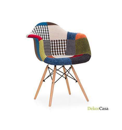 Icons Corner Pack de 2 sillones IMS con Patas de Madera y pachtwork