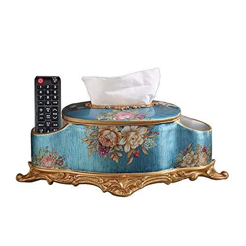 Gal Mädel Europäischen Und Amerikanischen Stil Retro Aufbewahrungsbox Zuhause Wohnzimmer Couchtisch Kreative Multifunktions-Tabletts Luxus Serviette Karton Harz Ornamente Handbemalt (Farbe : Blue)