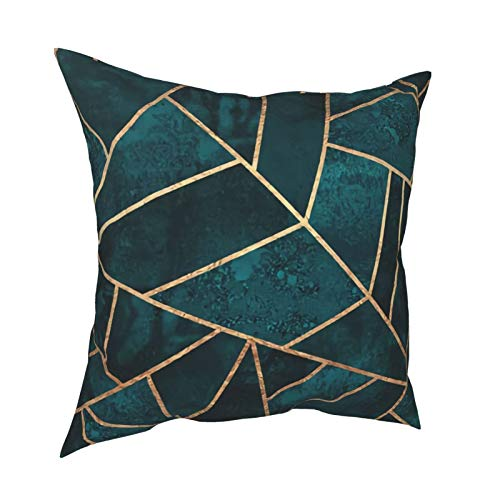 Cushion Covers Solid Soft Home Decorative Abstract Nature Emerald Green Throw Pillow Cases Square Cushion Covers for Livingroom Sofa Bedroom with Invisible Zipper 20X20inch