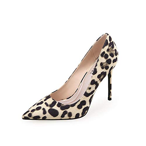 High Heels für Frauen Flacher Mund Leopardenmuster für Frauen Mode Feiner Absatz Sexy High Heels Senden Sie EIN Team Arbeitsplätze Einkaufen High Heels 8 cm,02,38