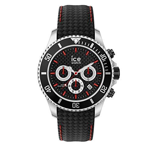 ICE-WATCH - ICE steel Black racing Chrono - Schwarze Herrenuhr mit Lederarmband - Chrono - 017669 (Large)