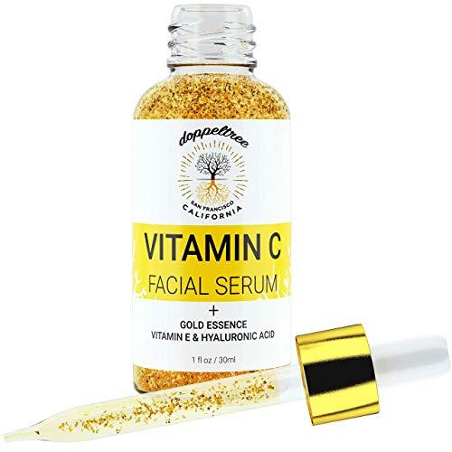 Sérum Visage Vitamine C Bio, Flocons d'or 24 carats, Acide Hyaluronique, Vitamine E - Sérum facial Vit C - Traitement des Cicatrices d'Acné, Correcteur des Taches Taches - Formulé à San Francisco