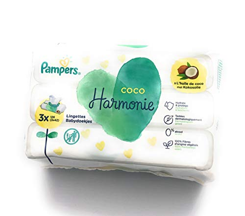 Pampers - Toallitas de coco armonía, con 100 {61000ceb5fa96d2e05d655f651367758fa051d851e743d47c6c56fad80b08904} fibras de origen vegetal y sin alcohol ni colorante, juego de 3 x 42 toallitas (total 126 toallitas)