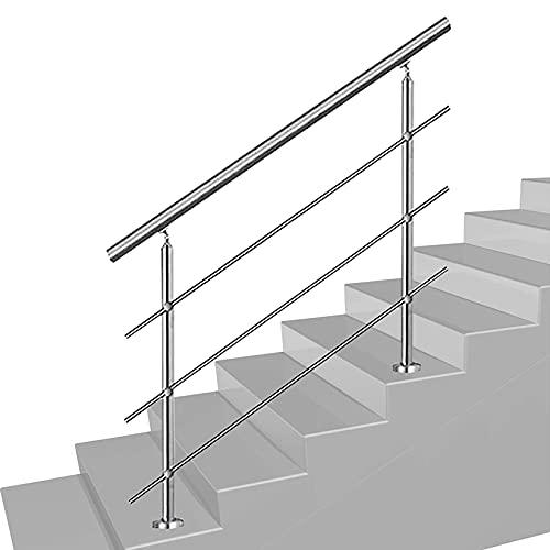 QDY-Handrails Barandilla Pasamanos de Acero Inoxidable para escalones, pasamanos Ajustables con 3 Barras transversales, pasamanos Plateado para escaleras para Balcones, Interiores y Exteriores