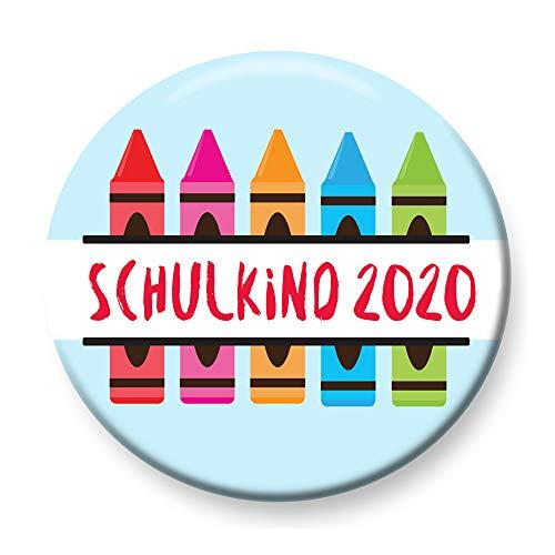 Polarkind Button Anstecker Schulkind 2020 Buntstifte Geschenk zum Schulanfang 38mm Handmade Pin