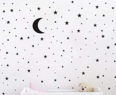 Moon and Stars Wall Decal Vinyl Sticker for Kids Boy Girls Baby Room Decoration Good Night Nursery Wall Decor Home House Bedroom Design YMX16