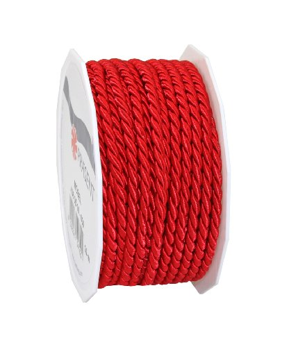 C.E. Pattberg Mosel Cord in red, 55 Yards of Braided Cord for Gifts, Parcels & Presents, 0.16 inches Width, Accessories for Decoration and Handicrafts, Tearproof Tape for Gift Wrapping
