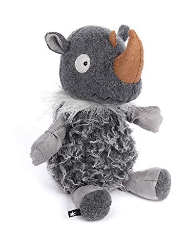 sigikid BEASTS, Kuscheltier für Erwachsene und Kinder, Nashorn, Rhino Nino, Beasts Town, Grau, 34x14x15 cm, 39167