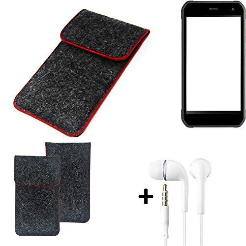 K-S-Trade Handy Schutz Hülle Für Cyrus CS 40 Schutzhülle Handyhülle Filztasche Pouch Tasche Hülle Sleeve Filzhülle Dunkelgrau Roter Rand + Kopfhörer
