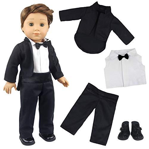 ZITA ELEMENT 4 Stück 18 Zoll Boy Puppenkleidung Bräutigam Anzug für amerikanische 43-46cm Boy Doll - Shirt mit Krawatte, Jacke, Hose, Schuhe