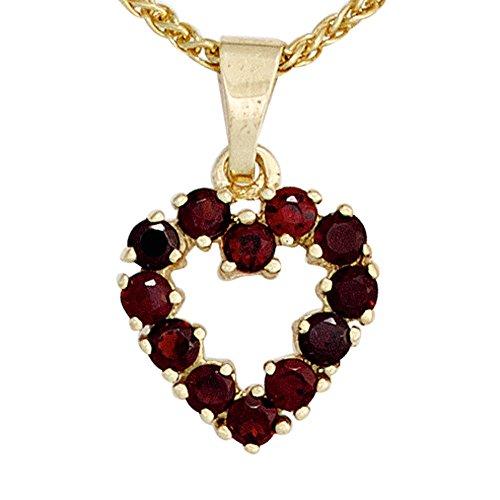 Granatherz rot Granatschmuck Anhänger Herz 375 Gold Gelbgold 12 Granate