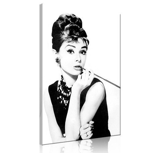AUDREY HEPBURN'S SMOKING 80x50cm (lg-020) - Bild auf Leinwand - Frühstück bei Tiffany Fotokunst Movie Film Glamour Star Deko Kunstdruck Pop Art Deko - Alle unsere Bilder sind auf Keilrahmen aufgezogen