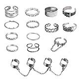 Chain Open Finger Rings Set Belt Cross Punk Retro Adjustable Stackable Rings Set for Women Girls 14PCS