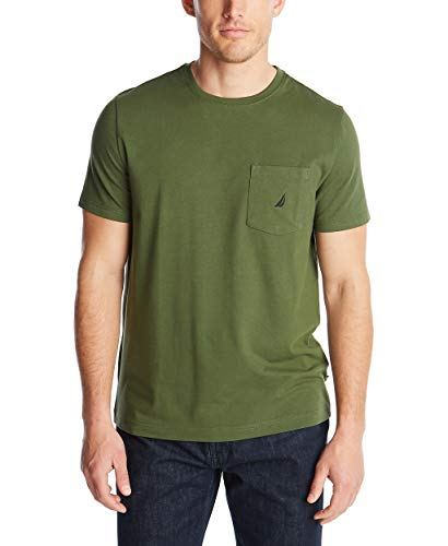 Nautica Men's Solid Crew Neck Short Sleeve Pocket T-Shirt, Pine Forest, Large