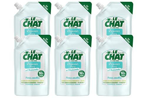Le Chat - Gel Lavant Mains - Savon Douceur Pure a l'Hamamélis - Peaux sensibles - Testé dermatologiquement - Formule Vegan - PH Neutre - Recharge 500 ml - Lot de 6