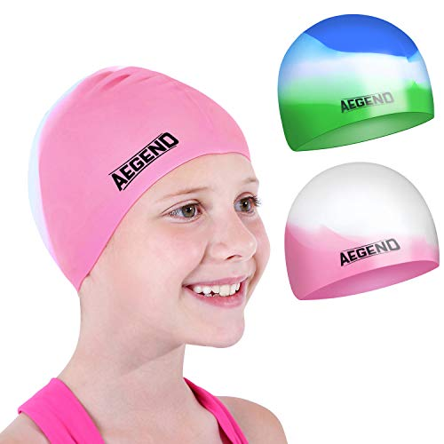 Aegend Kids Swim Cap (Age 4-8), 2 Pack, Pink & Green