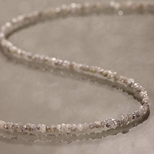 Rohdiamant Halskette Rau Ungeschnitten Diamant Halskette Natur Edelstein Halskette 925 Sterling Silber Perlenkette Halskette Geschenk Halsketten für Sie 45 CM