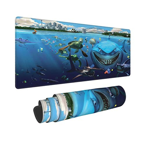 Extra Groß Mauspad mit Genähten Kanten,XL-75 x 40 x 0.3cm,Hai Ozean Schildkröte tropisches Tier Unterwasser Meer Welt,Schreibtisch Mat Personalisiert für Die Arbeit Spiel Büro Computer Laptop