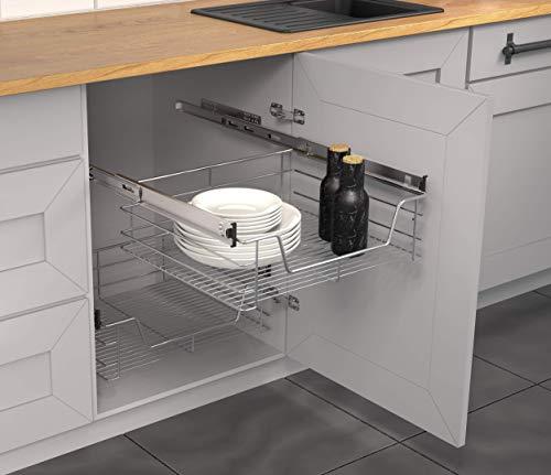 Cassetto telescopico per l'organizzazione della cucina (60 cm) con guide estraibili, per armadietto da cucina, cesto pensile per la cucina (completamente estraibile).