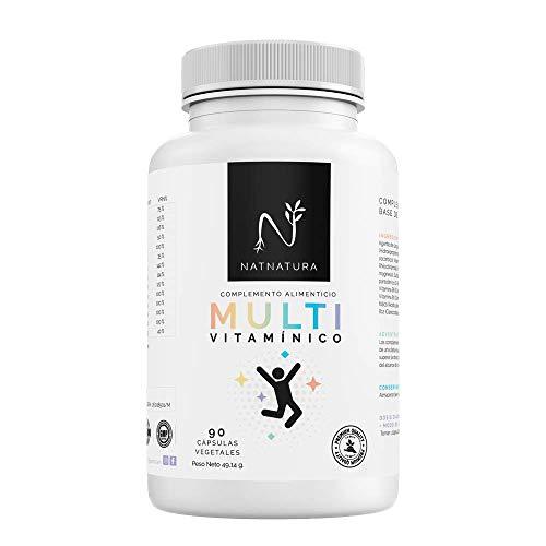 Complejo multivitamínico para hombre y mujer, a base de vitaminas y minerales. Reduce el cansancio, la fatiga y refuerza el sistema inmunitario. 90 cápsulas vegetales. Vegano y sin gluten.