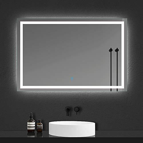 Xinyang 70x100cm Lampada a Risparmio energetico per Specchio da Trucco a Parete con Specchio a LED con Pulsante a sfioramento Anti-Appannamento Impermeabile