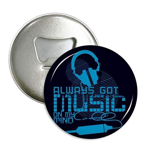DIYthinker Blau Headset Musik Verrücktes Muster rund Flaschenöffner Kühlschrank Magnet Pins Abzeichen-Knopf-Geschenk 3pcs Silber