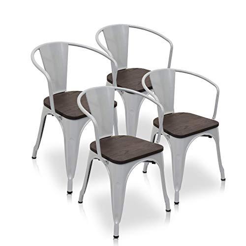La Silla Española - Pack 4 Sillas estilo Tolix con respaldo, reposabrazos y asiento acabado en madera. Color Industrial. Medidas 73x53,5x52