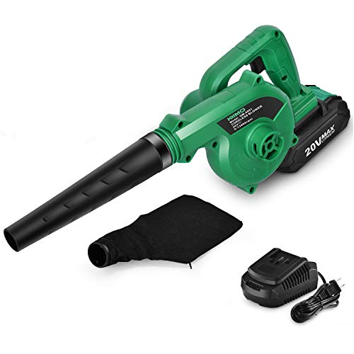K I M O. 20V Cordless Leaf Blower 2-in-1 Blower & Vacuum Variable Speed 20000 RPM Battery Powered Lightweight for Blowing Leaves Snow Dust in Patio/Garage/Deck