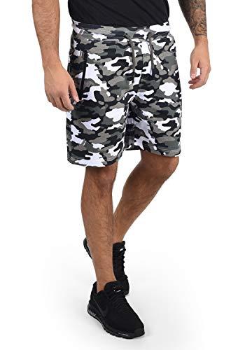 !Solid Taras Herren Sweatshorts Kurze Hose Jogginghose Mit Verschließbaren Eingriffstaschen Und Kordel Regular Fit, Größe:XL, Farbe:Dark Grey Camouflage (C2890)
