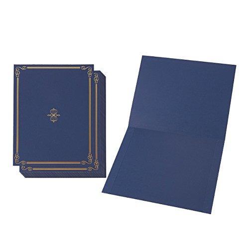 12er Set Hochwertige Urkundenmappen von Best Paper Greetings - DIN-A4 Blau/Gold - Ideal für Zertifikate, Dokumente, Zeugnisse, Auszeichnungen