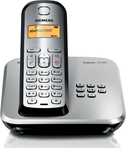 Gigaset AS285 Dect-Schnurlosdtelefon mit Anrufbeantworter, schwarz/ silber