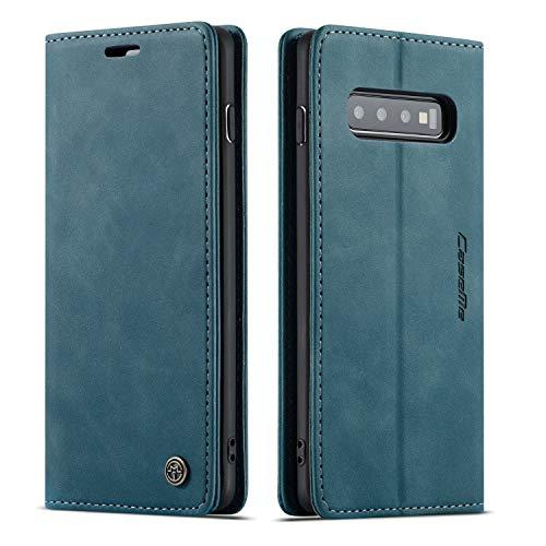 QLTYPRI Hülle für Samsung Galaxy S10e, Vintage Dünne Handyhülle mit Kartenfach Geld Slot Ständer PU Ledertasche TPU Bumper Flip Schutzhülle Kompatibel mit Samsung Galaxy S10e - Blau