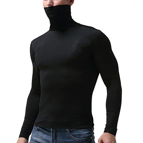 Juleya Herren Thermo-Unterhemd - Langarm Rollkragen Thermounterwäsche Weich und Atmungsaktiv Warm Oberteil Compression für Gym Fitness Top M-3XL