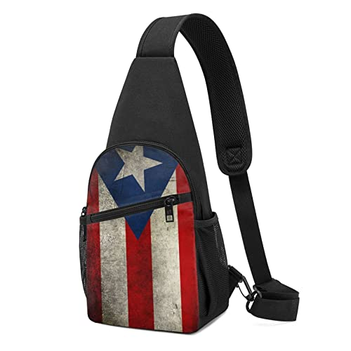 Mochila bandolera Puerto Rico Papel pintado Bandera Sling Bag Crossbody Bolsa de viaje senderismo bolsa de pecho Daypack, Black, Talla única,