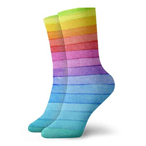 Hangdachang Calcetines personalizados color arcoíris, medias deportivas deportivas, calcetín de 11,8 pulgadas para hombres y mujeres