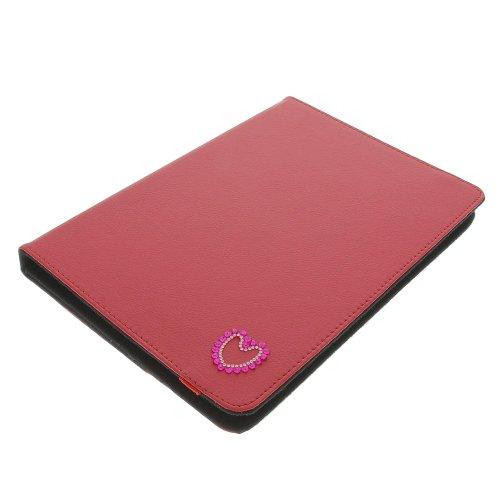 foto-kontor Tasche Strass Herz für Archos 101 Copper 101 Helium 4G Book Style Schutz Hülle Buch rot