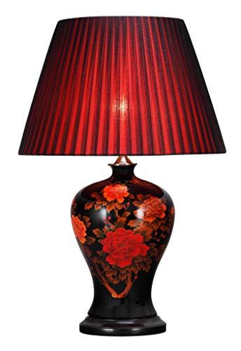 Fine Asianliving Lampara china de mesa de Cerámica porcelana Luz de mesa China Chino Oriental con pantalla Jingdezhen Mandarin Deco