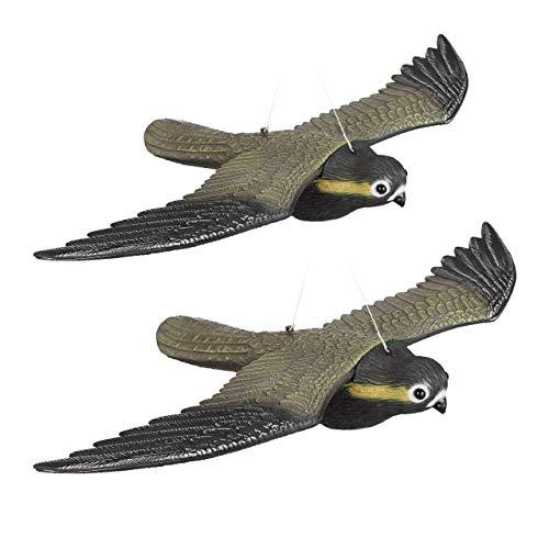 Relaxdays 2er Set Vogelschreck Falke, Fliegender Greifvogel als Vogelscheuche, Raubvogel Attrappe, Vogel lebensgroß, Mehrfarbig