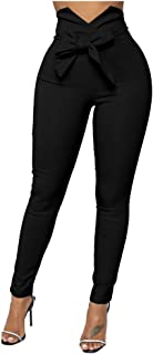 Women's Casual High Waist Stretch Trousers Solid Pencil...