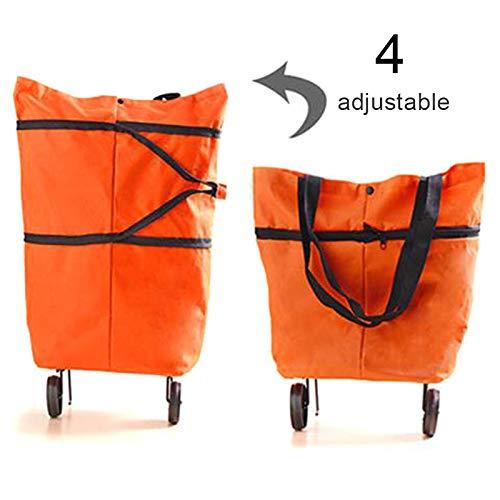 DirkFigge Bolsa de la compra, 2 en 1, plegable portátil, multifunción, bolsa de almacenamiento telescópica con rueda