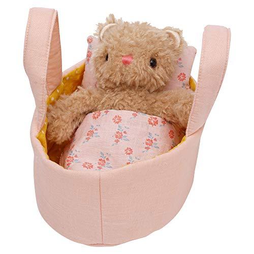Manhattan Toy Moppettes Bea Bear Stuffed Animal Nurturing Playset with Bear Plush Toy, Fabric Bassinet, Blanket & Pillow