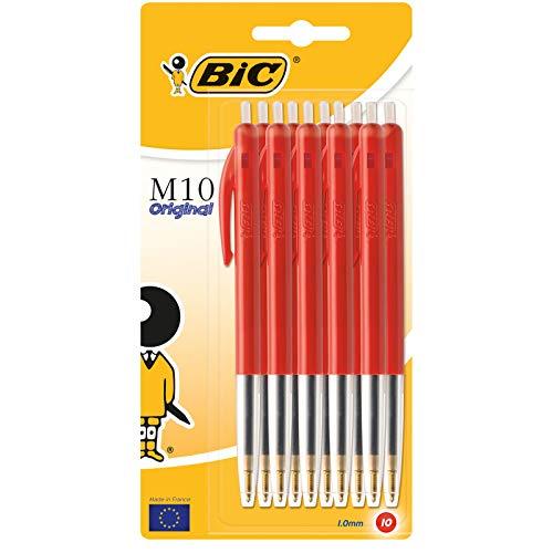 BiC M10 - Bolígrafos de clic (tamaño mediano, 10 unidades), color rojo