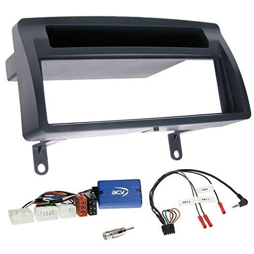 Einbauset mit Lenkradadapter für DIN Autoradio in Toyota Corolla E12 (2001-2007) - dunkelgrau