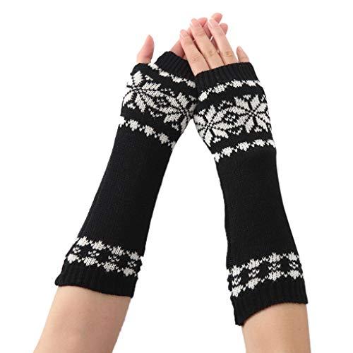 Bold N Elegant - Be Bold Inside & Elegant Outside Women's Long Extended Geometric Knitting Woollen Warm Comfortable Fingerless Gloves Arm Warmer Winter Accessories (Free Size, Black)