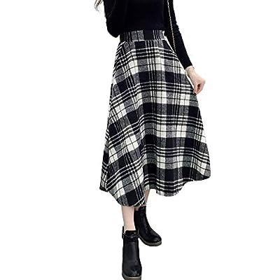 Women's High Elastic Waist Wool Plaid Maxi Skirt A-line Winter Warm Long Skirts