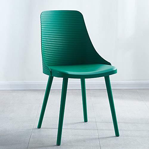 Yaunli - Silla de comedor de plástico para uso libre, resistente al agua y ligera (color: verde, tamaño: 48 x 51 x 84 cm)